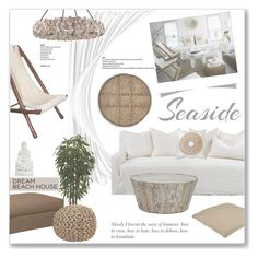 """""""She Sells Seashells"""" by fyenksfiona ❤ liked on Polyvore featuring interior, interiors, interior design, home, home decor, interior decorating, Universal Lighting and Decor, Nearly Natural, Klaussner and Bandhini Homewear Design"""