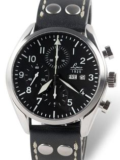 Laco 861715 Watch has the acclaimed Swiss Laco 50 Valjoux 7750 automatic chronograph movement with a day and date feature at 3:00. The hands and dial markers are treated with SuperLuminova C3 for excellent readability in the dark. Sapphire crystal