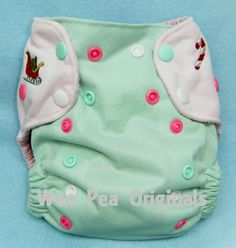 Little Miss Sugar Plum Embroidered OOAK OS AI2 Two Tone Cloth Diaper, ready to ship :: Rumpshakers In-stock Store