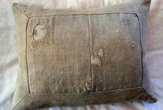 plain,patched vintage grain sack pillow