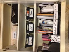 Kitchen command center Paper management Back to school Ready to tackle papers- in the cabinet? Kitchen Organisation, Home Office Organization, Organization Hacks, Bathroom Organization, Organizing Ideas, Command Center Kitchen, Family Command Center, Kitchen Desks, Kitchen Office