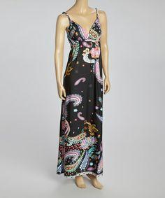 Look what I found on #zulily! Black & Pink Paisley Sleeveless Maxi Dress - Women #zulilyfinds