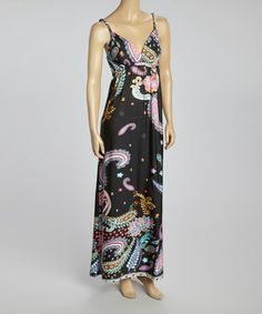 Love this Black & Pink Paisley Sleeveless Maxi Dress - Women by Prime Garments on #zulily! #zulilyfinds