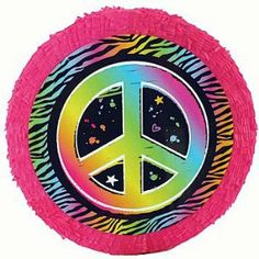 Neon Peace Sign Pinata by Shindigz. $12.99. 18 inch pinata. made of paper mache. Add this Neon Peace Sign Pinata to your retro party. Each Retro Peace Sign Pinata measures 18 inches in diameter and includes a pull string converter kit. You'll be able to smash this pinata or use pull strings to get to your candy. The Neon Peace Sign Pinata makes a great activity for your retro party.
