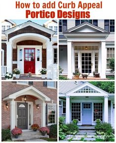 How to add curb appeal with a portico. A family of four generations living under one roof expands their home and adds a new portico to the front of their home to create architectural interest and character. Must see existing home with tiny portico Architecture Renovation, Home Renovation, Home Remodeling, House With Porch, House Front, Curb Appeal Porch, Fachada Colonial, Front Porch Design, Front Porch Addition