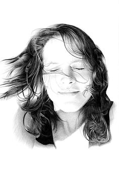 Pencil portrait drawings of girls from photographs. Upload a photo online to order a pencil portrait from a photograph.