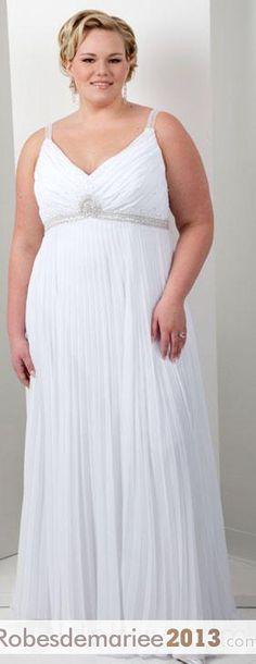 empire sangles délicats sans manches perlé Cour Floor-length Taille Plus robe de mariée