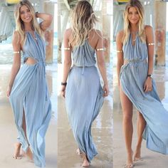 Frauen-Sommer-Boho-lang-Maxi-Partei-Abendkleid-Strandkleider-Chiffon-Kleid-Neu