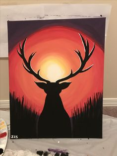 I made this painting for someone very close and special to me that passed away December 16, 2016. Deer silhouette looking into a sunset acrylic painting canvas. RIP Darren McNeil ❤️