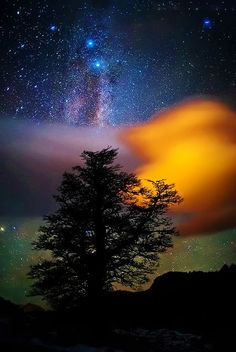 Beauty that we can´t see, Milky way and enlightened cloud, Los Glaciares National Park, Patagonia, Argentina by Ricardo La Piettra. All Nature, Amazing Nature, Science Nature, Beautiful Sky, Beautiful World, Stunningly Beautiful, Stunning View, Beautiful Scenery, Foto Picture