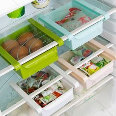 Multifunctional Adjustable Fridge Storage Sliding Drawer Refrigerator Organizer Space Saver Shelf