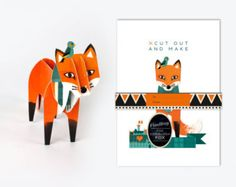 Cut out and Make Harris the Edinburgh Fox by finchandrobin on Etsy