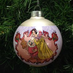 Disney Christmas Tree Snow White and Seven Dwarfs ornament; 1995 Christmas glass ball ornament, Schmid Disney collection yesteryears by LisaLiYesterYears on Etsy