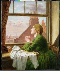 """""""The Song of the Shirt (For Only One Short Hour)"""", 1854, by Anna Blunden (English, 1829-1915). The title is taken from a poem by Thomas Hood, """"The Song of the Shirt,"""" on the plight of underpaid seamstresses; the following lines were quoted with the painting at its first exhibition:  """"For only one short hour / to feel as I used to feel / before I knew the woes of want / and the walk that costs a meal."""""""