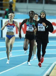 Woroud Sawalha of Palestine (far right in black) competes in the Women's 800 Metres first round during day one of the 14th IAAF World Indoor Championships on March 9, 2012 in Istanbul, Turkey. (Photo by Ian Walton/Getty Images)