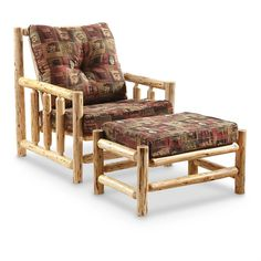 Wooden Log Arm Chair with Ottoman #CASTLECREEK # arm chair #home