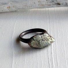 Copper Ring Turquoise December Birthstone Handmade Raw Modern Organic