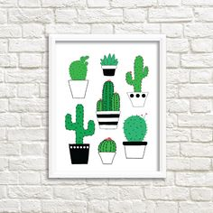 """8"""" x 10"""" Art print of my original hand-drawn illustration: a collection of cacti. - Color: Green + Black + White + Hot Pink - Paper: Watercolor Paper (.35mm thick) - Texture: Slightly Textured - Finis"""