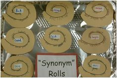 "Synonym rolls: You pass out cinnamon roll shapes to your students (or they make their own depending on grade level), and they put in the middle a ""boring"" word.  Then, on the spiral around the synonym roll, they write synonyms they could use to replace it.  Personally, I would laminate these, keep them in a roll pan or file to let students sift through them while trying to write."