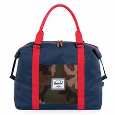 Herschel Supply Strand Plus Duffle in Woodland Camo/Red/Navy - available in store and online at #FabBabyGear #HerschelSupply