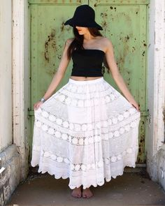 White Flair Skirt with Black Tube Top and Hat