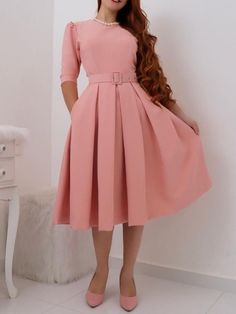 Half Sleeve Pleated Round Neck A-Line Standard-Waist Dress Half Sleeve Dresses, Half Sleeves, Ladies Day Dresses, African Dress, Vintage Dresses, Beautiful Dresses, Lace Dress, Fashion Dresses, Clothes For Women