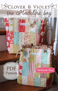 charm pack....The Madeline Diaper Bag Downloadable PDF Pattern Clover & Violet