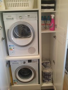 """Acquire wonderful recommendations on """"laundry room stackable washer and dryer"""". They are accessible for you on our internet site. Basement Storage, Laundry Room Organization, Closet Storage, Laundry Room Bathroom, Laundry Room Design, Bathrooms, Small Storage, Diy Storage, Planer Organisation"""
