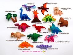 Dinosaurs felt Magnets CHOOSE YOUR ITEMS by LadybugOnChamomile