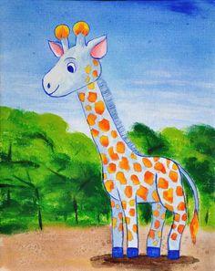 giraffe, nursery, kids, art, children, safari, jungle, Africa  Find me on fineartamerica.com: Heather Hancock Facebook: Heather Hancock Paints