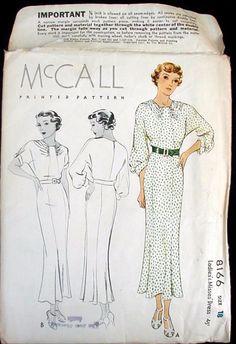 McCALL 8166 | 1935 Ladies' & Misses' Dress