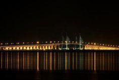 Penang Bridge - Night View Bridge, Night, Places, Bridge Pattern, Bridges, Lugares, Attic, Bro