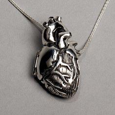 Original Silver Anatomical Heart Locket- 28 inch chain