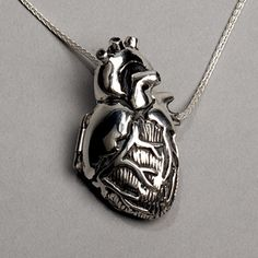 For the medical geek in me; Anatomical Heart Locket, silver, $339.00