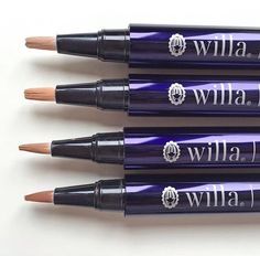 Willa skincare Out-of-Sight complete set. All four shades of our out-of-sight concealer pen (fair, light, medium and deep). Target trouble spots with this precision concealer, which delivers full yet totally natural-looking coverage. The lightweight, easy-blending formula camouflages blemishes, dark circles and redness, and features Marula oil to hydrate and protect skin.