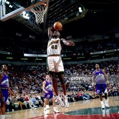 Sean Kemp of the Seattle Sonics goes up for a slam dunk against the Utah  Jazz 76ee5b0d7