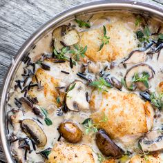 Creamy Chicken with Wild Rice and Mushrooms is a hearty, comforting one pot meal. ~ theviewfromgreatisland.com
