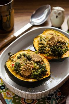 Quinoa-Stuffed Acorn Squash - no onion or garlic, and use Turkey Italian Sausage or Chicken