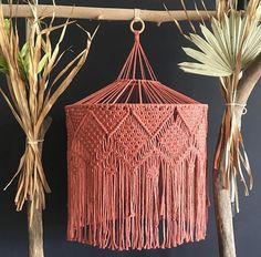 They say pictures tell a story. Well, this is about a girl who had no idea what to do with a pink macrame chandelier. So she gathered dead… Macrame Supplies, Macrame Projects, Macrame Plant Holder, Macrame Plant Hangers, Macrame Owl, Macrame Knots, Free Macrame Patterns, Dream Catcher Craft, Deco Addict