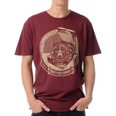 Obey Jewel Point LP Thrift Red Tee Shirt