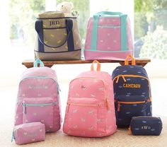Taylor Navy Car Embroidered Sleepover Backpack | Pottery Barn Kids