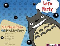 Printable PDF Totoro Invitation for a Totoro Party Inviti Feste