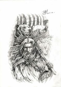 All Things Heathen,Viking and Heathen Related Clothing and accessories Viking Tattoo Design, Tattoo Designs Men, Mago Tattoo, Cool Tattoos, Tatoos, Viking Pictures, Viking Character, Warrior Drawing, Viking Culture