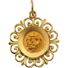 14k Yellow Gold 18.5mm Round Baptismal Medal Religious by SugaredJewels on Etsy