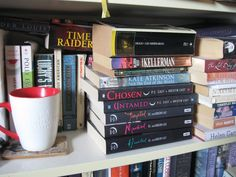 My coffee and a couple of books in a nearby bookcase in my office.