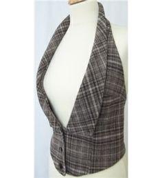 tela escocesa de Brown - espalda escotada Chaleco