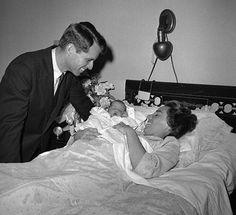 Bobby and Ethel with their new born son Michael LeMoyne Kennedy (1958 - 1997) on March 1st 1958