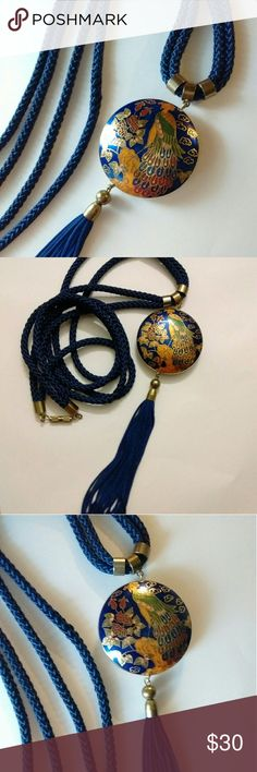 Vintage Chinese Peacock Cloisonne Tassel Necklace Vintage Chinese Peacock Cloisonne Necklace.  Royal Blue With Gold Plated Accented Decor. Screw Clasp Closure. The Gold Tone Findings Are Faded Some Buy Still A Beautiful Piece Of Artful Jewelry.  Measures 22.5in Long & The Circle Measures 1.75inx1.75in.  Peacock symbolism: Vision, Royalty, Spirituality, Awakening, Guidance, Protection, &?Watchfulness.  Thank You & Please Feel Free To Ask Questions.  Have A Blessed Day! Vintage Jewelry…