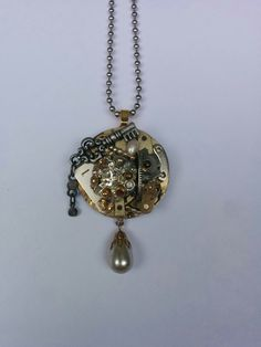 Olivia - Upcycled and Re-Imagined Steampunk Jewelry using vintage jewelry, gems and watches by DreamsinTime on Etsy