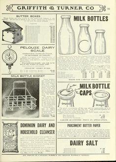 Farm advertisements: milk bottles, carrier, bottle caps, etc., c.1922.